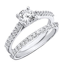 Click here for 1.20 CT.T.W. Shared Prong Diamond Wedding Set in P... prices