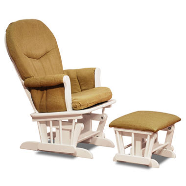 AFG Deluxe Glider with Ottoman - White