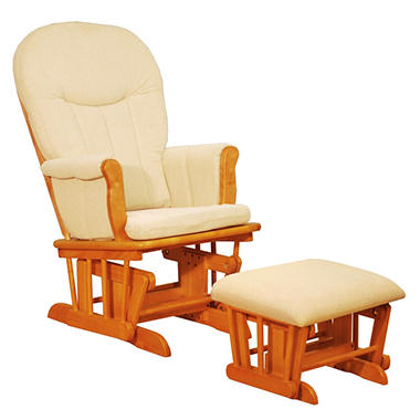 Deluxe Glider with Ottoman - Pecan