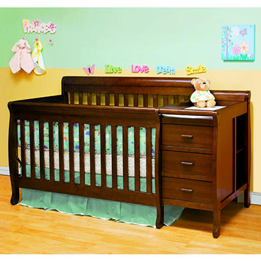 AFG Kimberly Convertible Crib and Changer Combo with Toddler Rail - Espresso