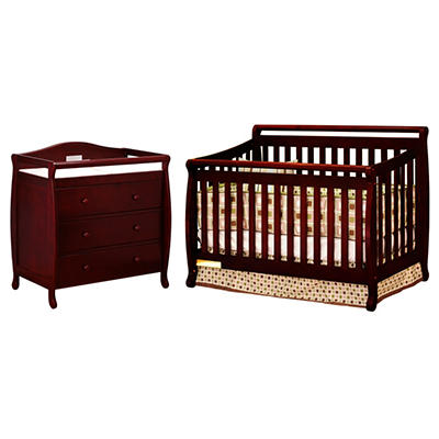 AFG Amy 3-in-1 Crib and Grace 3 Drawer Changer - Cherry