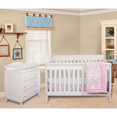 AFG Alice 3-in-1 Crib and Grace 3 Drawer Changer - White