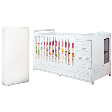 Daphne 3-in-1 Crib and Changer with Deluxe Mattress - White