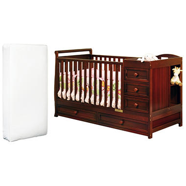 Daphne 3-in-1 Crib and Changer with Deluxe Mattress - Cherry