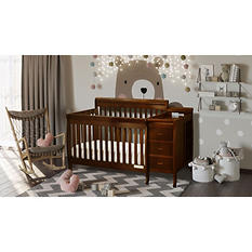 AFG Kimberly 3-in-1 Crib, Changer with Toddler Rail and Deluxe Mattress - Espresso