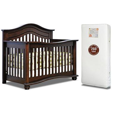 AFG Lia 3-in-1 Convertible Crib with 260-Coil Mattress, Espresso