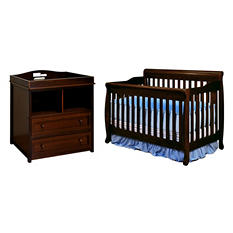 AFG Alice 3-in-1 Crib and Leila 2-Drawer Changer (Assorted Colors)