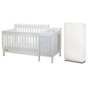 AFG Kimberly 3-in-1 Crib, Changer with Toddler Rail and Deluxe Mattress, White
