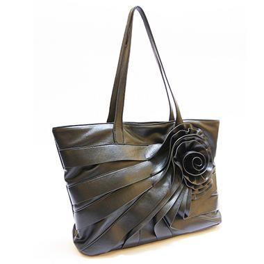 Black Rivet Rosette Faux Leather Handbag