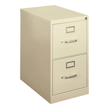 "basyx by HON - H410 Series Vertical File Cabinet, 2-Drawer, Locking, Letter, 22"" Depth - Putty"