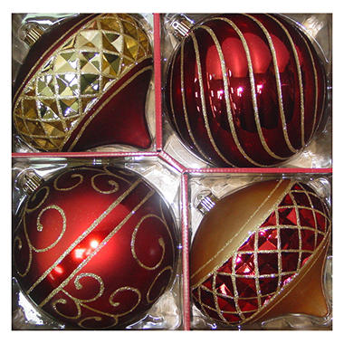Jumbo Holiday Ornaments - Red/Gold - 4 pk.