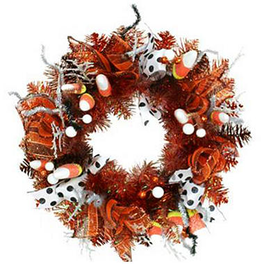 "26"" Decorative Halloween Wreath - Black & White"