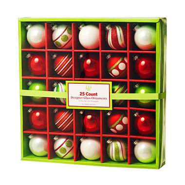 25 ct. Glass Ornaments - Red & Green