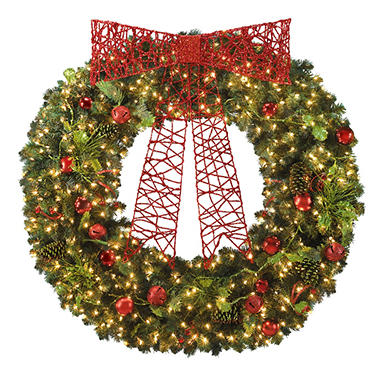 "60"" Pre-Lit Holiday Wreath with Clear Lights"