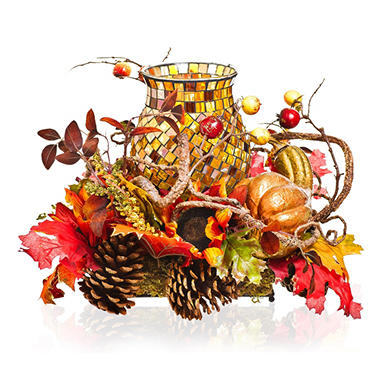 Harvest Centerpiece with Glass Mosaic Candle Holder