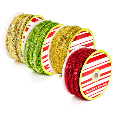 Holiday Tinsel Ribbon - Various Colors
