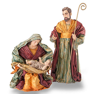 3PC HOLY FAMILY SET FABRIC MACHE