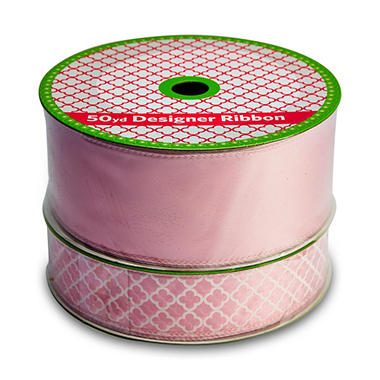 2 Pack Wired Ribbon - Pink Satin and Medallion (50 yds. each, 100 yds. total)