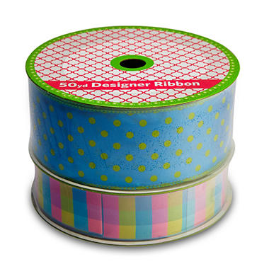2 Pack Wired Ribbon - Turquoise & Lime Polka Dot and Blue, Pink & Lime Plaid (50 yds. each)