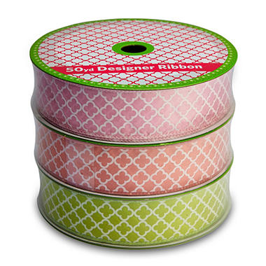 3 Pack Wired Ribbon - Pink, Coral and Green Medallion (50 yds. each)