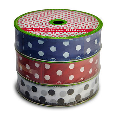 3 Pack Wired Ribbon - Blue, Red and White with Polka Dots (50 yds. each)