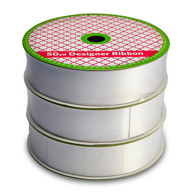"1.5"" Satin Ribbon Professional Quality  - Woven White (3 pk., 50 yds. each, 150 yds. total)"