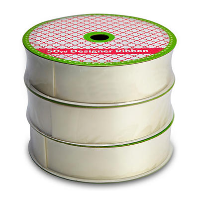 "1.5"" Satin Ribbon Professional Quality  - Woven Ivory (3 pk., 50 yds. each, 150 yds. total)"