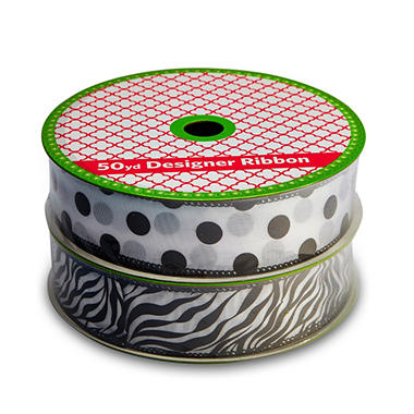 2 Pack Wired Ribbon - Zebra Stripe and Polka Dots (50 yds. each)
