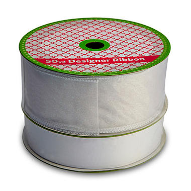 2 Pack Ribbon - Wired White Sheer Glitter and Woven White Grosgrain (50 yds. each)