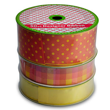 3 Pack Wired Ribbon - Orange with Yellow Polka Dots, Orange Plaid and Yellow (50 yds. each)