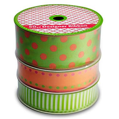 3 Pack Wired Ribbon - Lime and Orange Polka Dot, Woven Orange with Dot Edges and Green Stripe (50 yds. each)