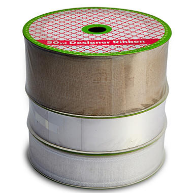 3 Pack Wired Ribbon - Burlap Linen, Woven White Satin and Raw Silk Look (50 yds. each, 150 yds. total)