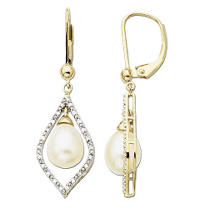 Freshwater Pearl & Diamond Drop Earrings