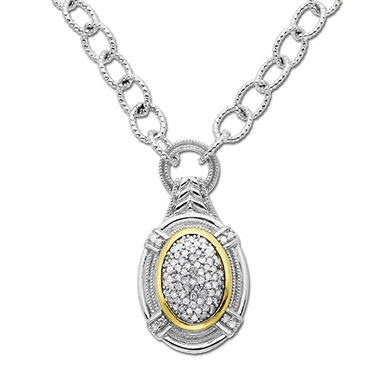 .20 ct. t.w. Diamond Necklace in Sterling Silver & 14K Yellow Gold (H-I, I1)