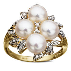 Pearl & Diamond Accent Cluster Ring (H-I, I1)