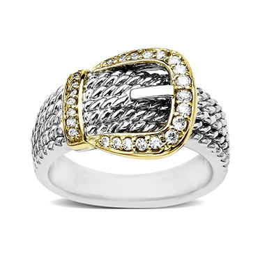 0.25 ct. t.w. Diamond Buckle Ring in Sterling Silver & 14k Yellow Gold (H-I, I1)