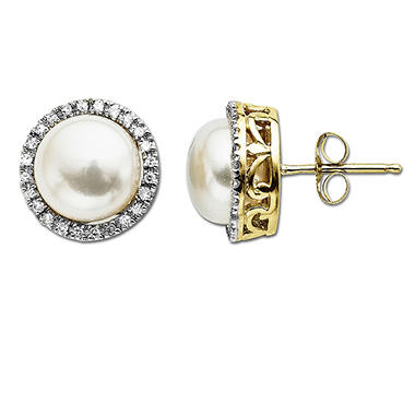 Freshwater Cultured Pearl & .13 ct. t.w. Diamond Stud Earrings