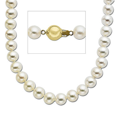 7mm Cultured Freshwater Round White Pearl Necklace