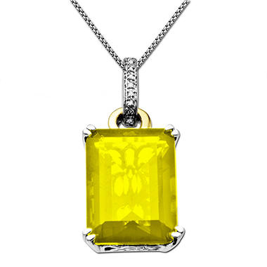 12.63 ct. Lemon Quartz & Diamond Accent Pendant in Sterling Silver & 14K Yellow Gold