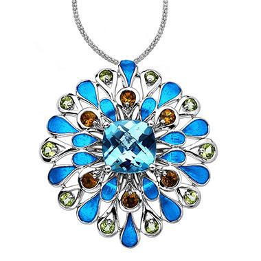 5.2 ct. t.w. Mixed Semi-Precious Gemstone & Enamel Pendant