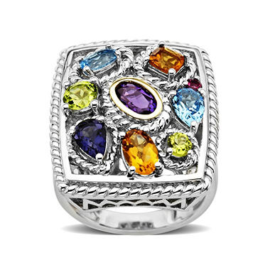 2.16 ct. t.w. Multi Gemstone Ring in Sterling Silver & 14K Yellow Gold