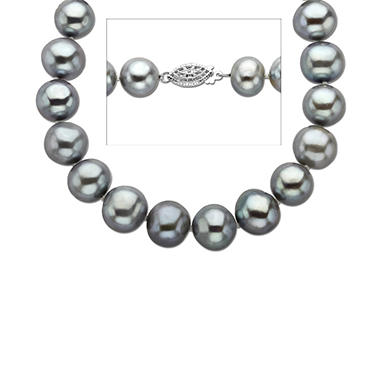 Grey Freshwater Cultured Pearl & Sterling Silver Necklace