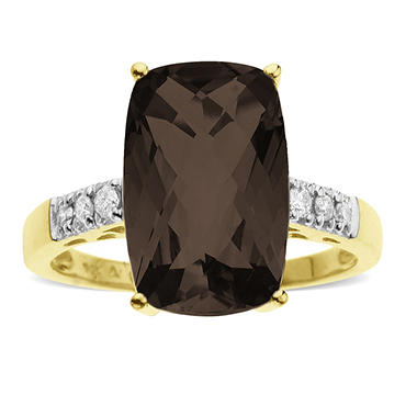 3.88 ct. t.w. Smokey Quartz & Diamond Ring in 14K Yellow Gold (H-I, I1)