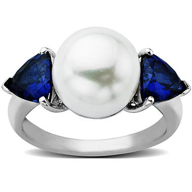 Freshwater Cultured White Pearl and Created Sapphire Ring in 14K White Gold