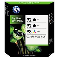 HP 92/92/93 Original Ink Cartridge, Black/Tri-Color (3 pk., 220 Page Yield)