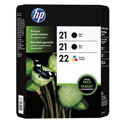 HP 21/21/22 Original Ink Cartridge, Black/Tri-Color (3 pk., 190 Page Yield)