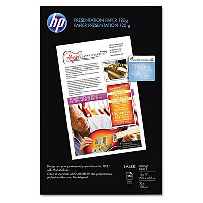 HP Color Laser Presentation Paper, 97 Brightness, 32lb, 11 x 17, White, 250 ct.)