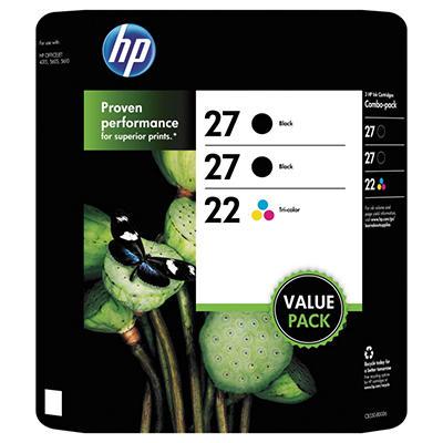 HP 27/27/22 Original Ink Cartridge, Black/Tri-Color (3 pk., 280 Page Yield)