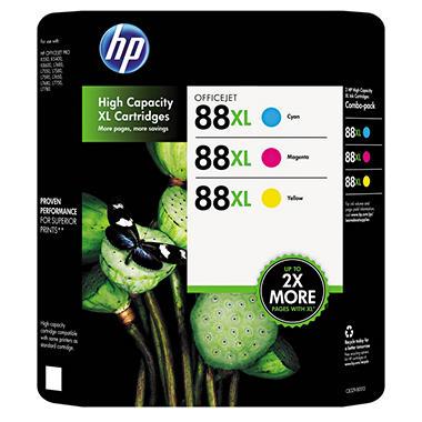 HP 88XL High Yield Original Ink Cartridge, Cyan/Magenta/Yellow (3 pk., 2,450 Page Yield)