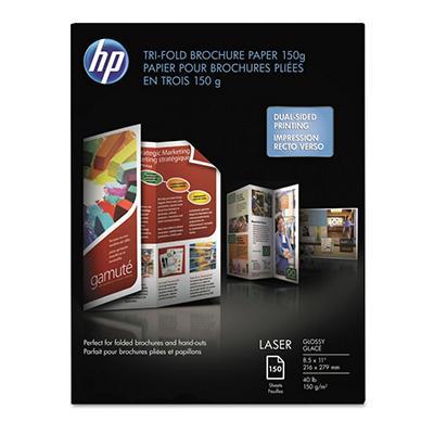 HP - Tri-Fold Laser Brochure Paper, 97 Brightness, 40lb, 8-1/2 x 11, White -  150 /Pack
